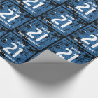 21st Birthday Twenty One Rocks BLUE Grunge F21Z Wrapping Paper