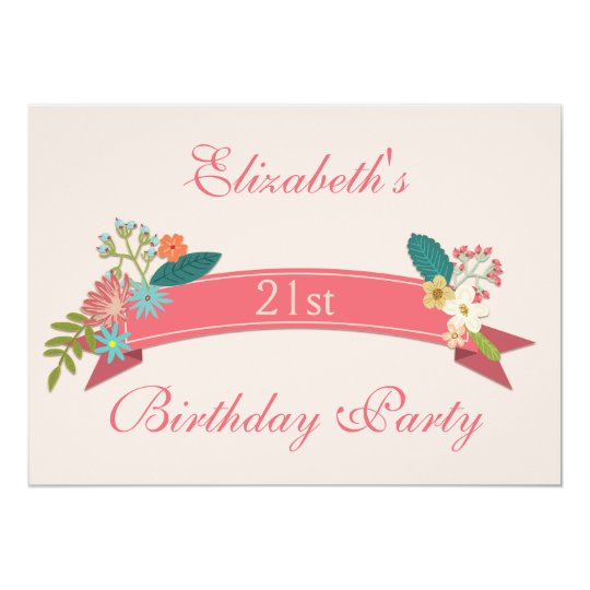 21st Birthday Vintage Flowers Pink Banner Card