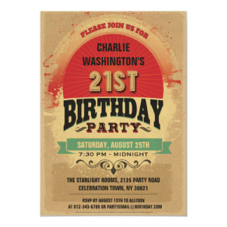 21st Birthday Vintage Typography Grunge 13 Cm X 18 Cm Invitation Card