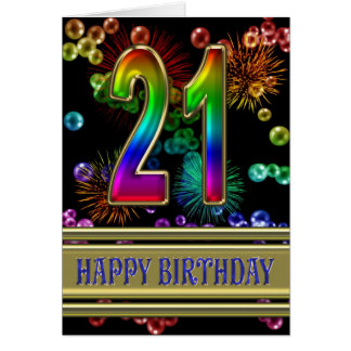 21st Birthday with rainbow bubbles and fireworks Greeting Card