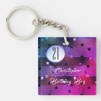 21st Birthday with Stars and Photograph Template Key Ring