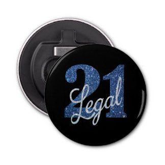 21st Blue | 21 Legal Glitter Black Party Theme Bottle Opener