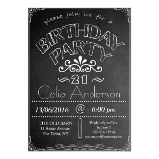 21st Chalkboard Birthday Celebration Invitation
