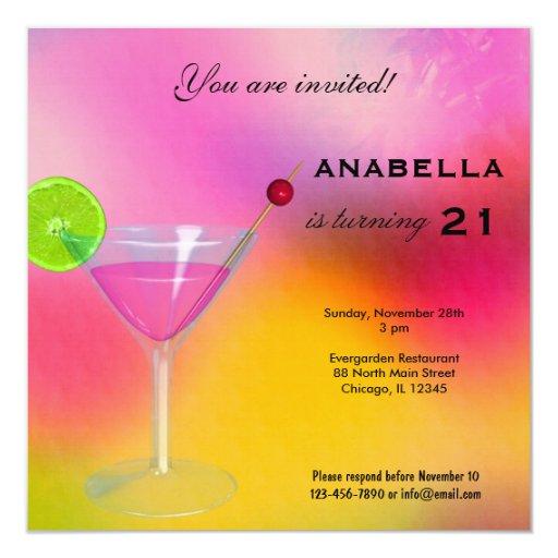 21st Cocktail Birthday Invitation 13 Cm X 13 Cm Square Invitation Card