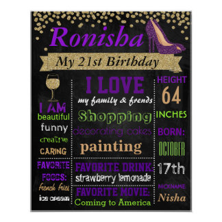 21st Confetti Birthday party chalkboard sign board Poster