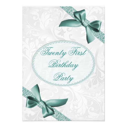 21st Damask and Bows Birthday Party Invite