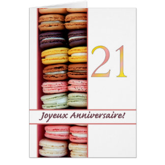 21st French Birthday Macaron-Joyeux Anniversaire! Greeting Card