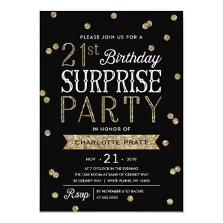21st Glitter Confetti Surprise Party Invitation