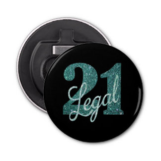 21st Green | 21 Legal Glitter Black Party Theme Bottle Opener