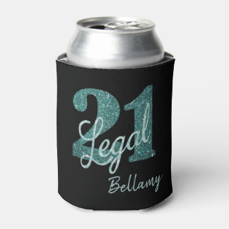 21st Green | 21 Legal Glitter Black Party Theme Can Cooler