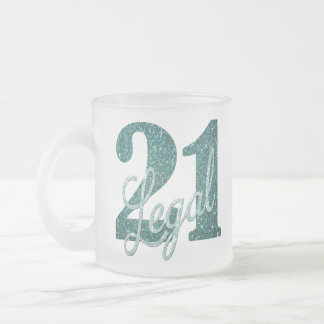 21st Green   21 & Legal Teal Seafoam Glitter Party Frosted Glass Coffee Mug