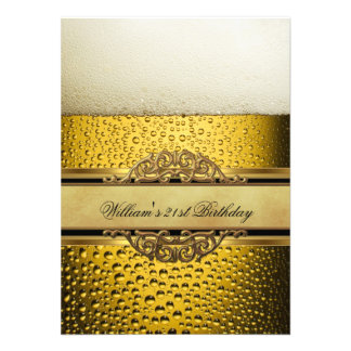 21st Mans Beer Black Gold Birthday Party Invites