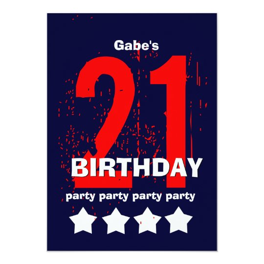 21st Modern Birthday Party Red White Blue W1797D1