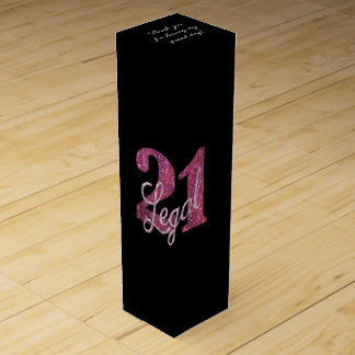 21st Pink | 21 Legal Dark Fun Chic Glitter Black Wine Box