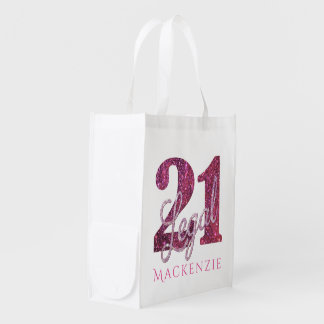 21st Pink | Custom 21 Legal Glitter with Name Reusable Grocery Bag