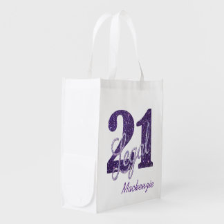 21st Purple | Custom 21 Legal Glitter with Name Reusable Grocery Bag