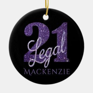 21st Purple | Name 21 Legal Glitter Black Birthday Christmas Ornament