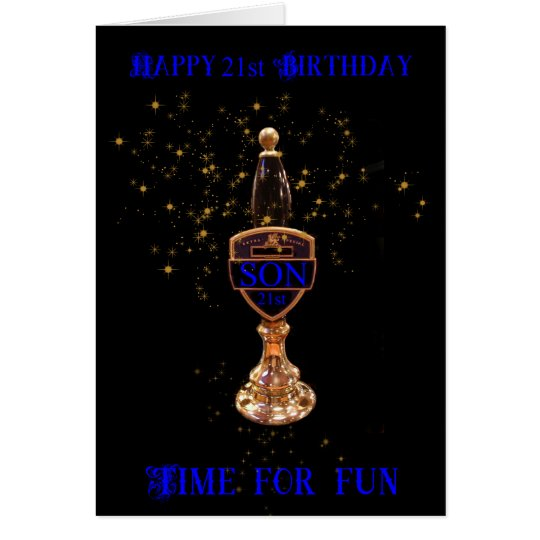 21st SON BEER PUMP BIRTHDAY GREETING CARD
