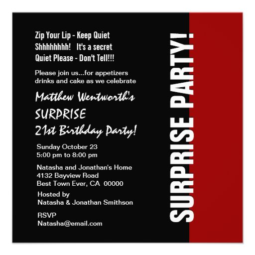 21st SURPRISE Birthday Modern Black Red White W925 Custom Invitations