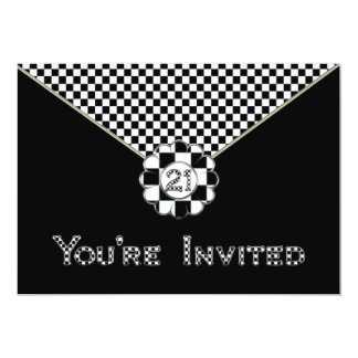 21stBIRTHDAY PARTY INVITATION - BLK/WHT ENVELOPE