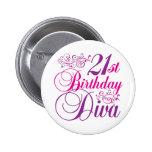 21th Birthday Diva Button