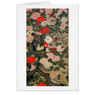 22. 牡丹小禽図, 若冲 Peonies & Small Birds, Jakuchū Card