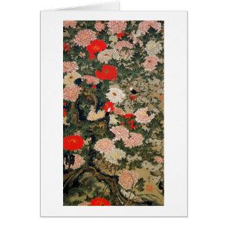 22. 牡丹小禽図, 若冲 Peonies & Small Birds, Jakuchū Greeting Card