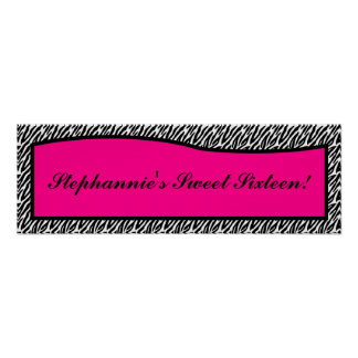 """22.5""""x7.5"""" Personalised Banner Hot Pink Zebra Prin Poster"""