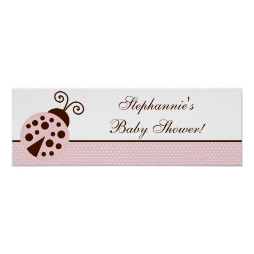 "22.5""x7.5"" Personalised Banner Pink Ladybug Poster"