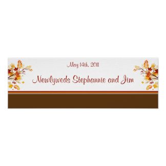 """22.5""""x7.5"""" Personalized Banner Autumn Branch Leave Posters"""