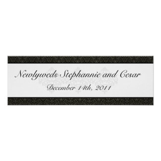 """22.5""""x7.5"""" Personalized Banner Black and Gray Dama Print"""
