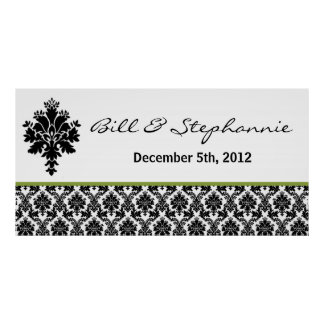 "22.5""x7.5"" Personalized Banner Black Green Damask Poster"