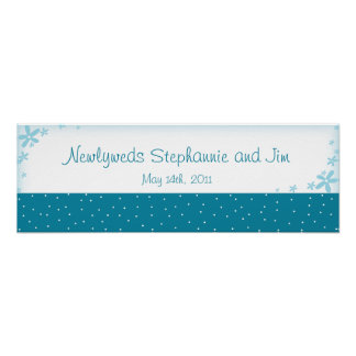 "22.5""x7.5"" Personalized Banner Blue Daisies Posters"