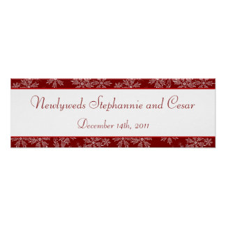 "22.5""x7.5"" Personalized Banner Christmas Red Snowf Poster"