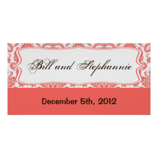 """22.5""""x7.5"""" Personalized Banner Coral White Damask Poster"""