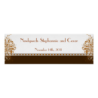 "22.5""x7.5"" Personalized Banner Damask Autumn Posters"