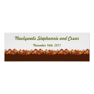 "22.5""x7.5"" Personalized Banner Fall Foliage Leaves Posters"