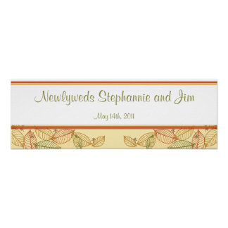 """22.5""""x7.5"""" Personalized Banner Fall Leaves Print"""