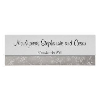 "22.5""x7.5"" Personalized Banner Gray Snowflakes Posters"