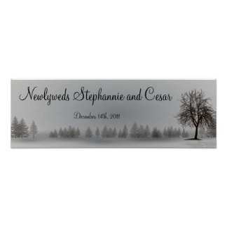 """22.5""""x7.5"""" Personalized Banner Gray Winter Trees Poster"""