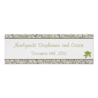 "22.5""x7.5"" Personalized Banner Green Floral Posters"