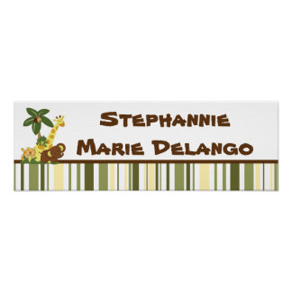 """22.5""""x7.5"""" Personalized Banner Jungle Babies Poster"""