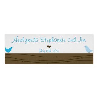 "22.5""x7.5"" Personalized Banner Love Birds Posters"