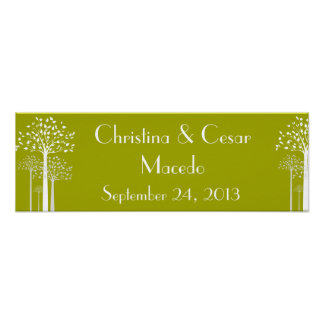 """22.5""""x7.5"""" Personalized Banner Modern Green Trees Poster"""
