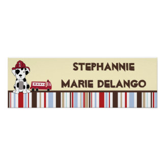 """22.5""""x7.5"""" Personalized Banner Nojo Fire Engine Print"""