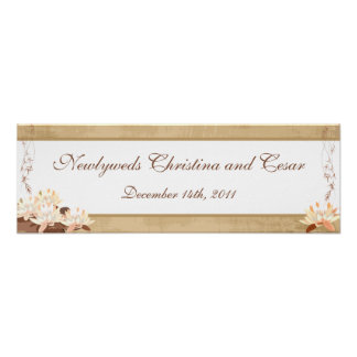 """22.5""""x7.5"""" Personalized Banner Oriental Flowers Poster"""