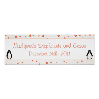 "22.5""x7.5"" Personalized Banner Penguin Love/Hearts Posters"