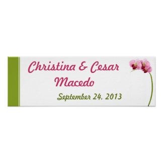 """22.5""""x7.5"""" Personalized Banner Pink Orchid Long St Posters"""
