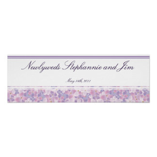 "22.5""x7.5"" Personalized Banner Purple Hydrangea Poster"