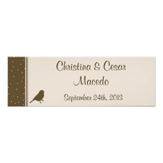 "22.5""x7.5"" Personalized Birds on Brown Polka Dot Poster"